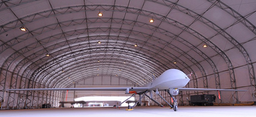 An MQ-1 Predator stands ready to take to the skies, Jan. 30, in support of the 2009 Iraqi provincial elections