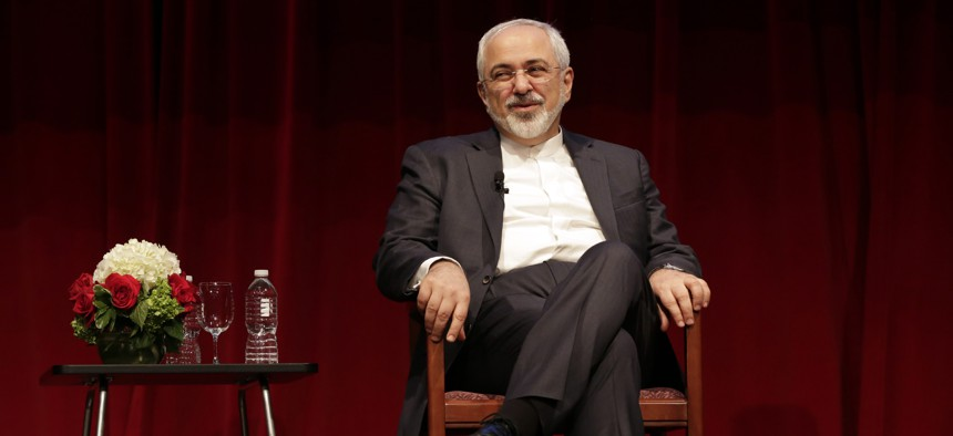 Iran's Foreign Minister Mohammad Javad Zarif is interviewed by David Ignatius, of the Washington Post, during his appearance, hosted by the Center on International Cooperation, at New York University, Wednesday, April 29, 2015.