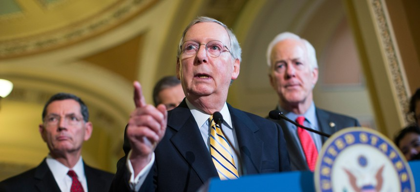 Senate Majority Leader Sen. Mitch McConnell, R-Ky., answers a question during a news conference on Capitol Hill in Washington, April 21, 2015.