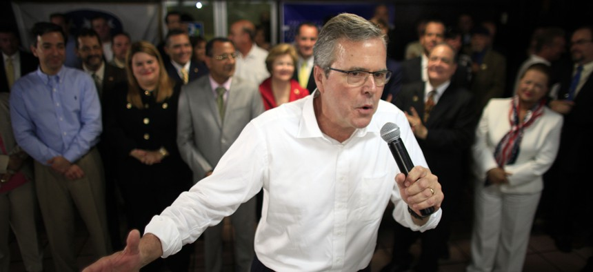 Jeb Bush speaks during a town hall meeting with Puerto Rico's Republican Party in Bayamon, Puerto Rico, Tuesday, April 28, 2015.
