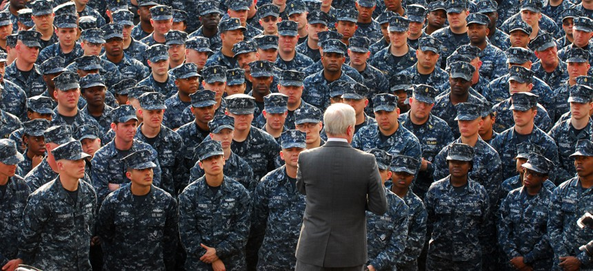 Secretary of the Navy Ray Mabus speaks to Sailors and Marines during an all-hands call at Commander, Fleet Activities Yokosuka, April 20, 2011.