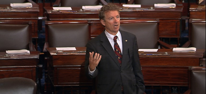In this image from Senate video, Sen. Rand Paul, R-Ky., and a Republican presidential contender, speaks on the floor of the U.S. Senate Wednesday afternoon, May 20, 2015.