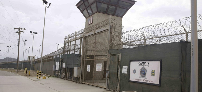 The entrance to Camp 5 and Camp 6 at the U.S. military's Guantanamo Bay detention center at Guantanamo Bay Naval Base, Cuba, Saturday, June 7, 2014.