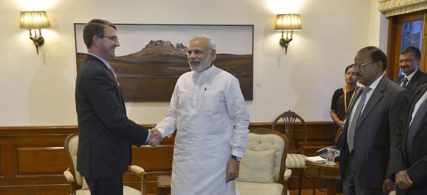 Secretary of Defense Ash Carter meets with Prime Minister of India Narendra Modi in New Delhi, India, June 3, 2015.