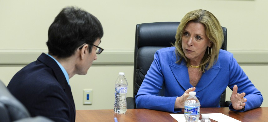 Secretary of the Air Force Deborah Lee James answers questions from local media during a visit to Wright-Patterson Air Force Base, Ohio, March 26, 2015.
