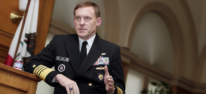 National Security Agency director Mike Rogers speaks at Stanford University, Monday, Nov. 3, 2014.