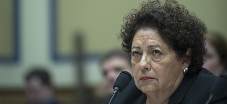 Katherine Archuleta director, Office of Personnel Management, testifies before a House Oversight and Government Reform Committee hearing on Capitol Hill in Washington, Tuesday, June 16, 2015.