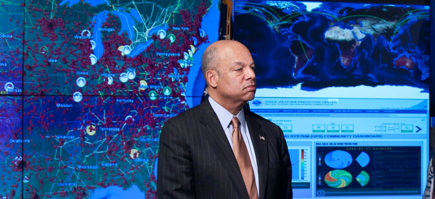 Secretary of Homeland Security Jeh Johnson at the National Cybersecurity and Communications Integration Center, Jan. 13, 2015.