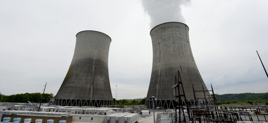 In this April 29, 2015 photo, the cooling tower for Unit 2, left, and Unit 1, right, are seen at the Watts Bar Nuclear Plant near Spring City, Tenn.