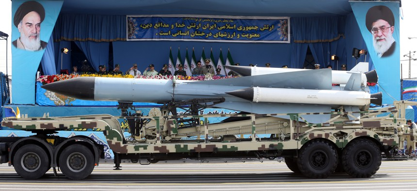 Missiles are displayed by the Iranian army in a military parade just outside Tehran, Iran, April 18, 2015.