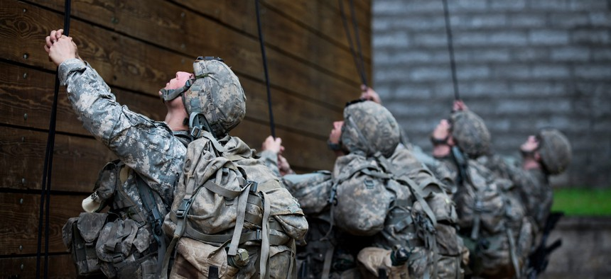 U.S. Army Soldiers participate in rappel training during the Mountain Phase of the Ranger Course on Camp Merrill in Dahlonega, Ga., July 12, 2015.