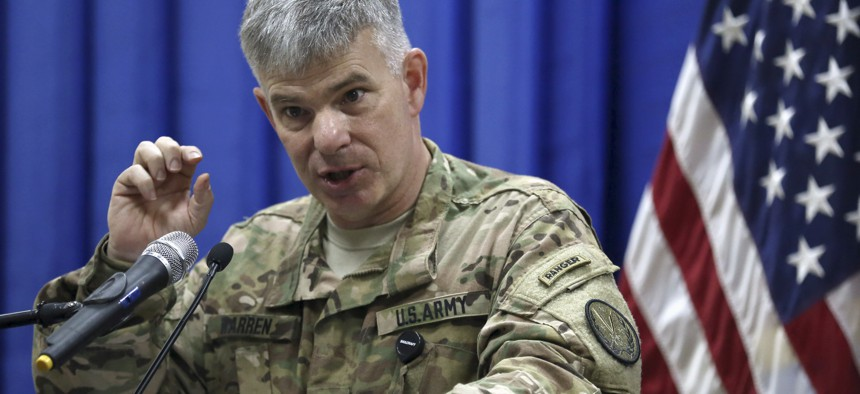 Col. Steve Warren, the new spokesman for the U.S.-led coalition in Iraq, speaks to reporters during a news conference at the U.S. Embassy in the heavily fortified Green Zone in Baghdad, Iraq, Thursday, Oct. 1, 2015.