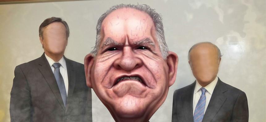 An illustration of CIA director John Brennan
