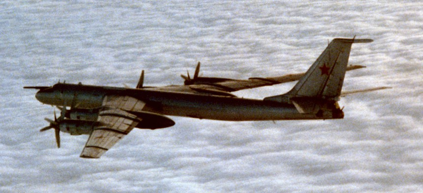 """""""Top Gun"""" came out in 1986, the same year the U.S. Navy photographed this Soviet Tu-142 maritime patrol aircraft — the same type that recently flew past the USS Ronald Reagan."""