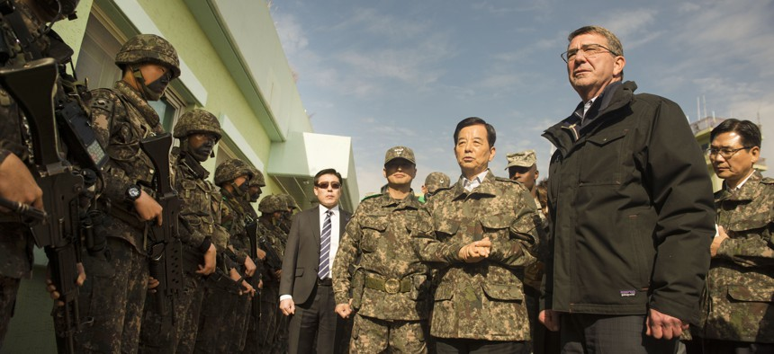 U.S. Defense Secretary Ash Carter and South Korean Defense Minister Minkoo Han visit the Demilitarized Zone, Nov.1, 2015.