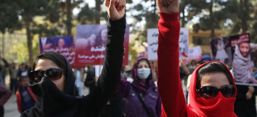 A protest in Kabul in November.