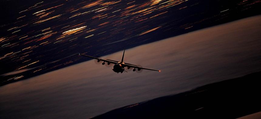 An AC-130U Gunship flies a local training mission Jan. 27, 2011, over Hurlburt Field, Fla.