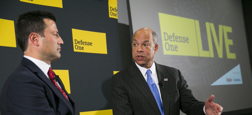 """Secretary of Homeland Security Jeh Johnson speaks at a Defense One """"leadership briefing"""" in Washington, Monday, Dec. 7, 2015, on the agency's efforts to tackle growing terrorism threats in the U.S. and abroad."""