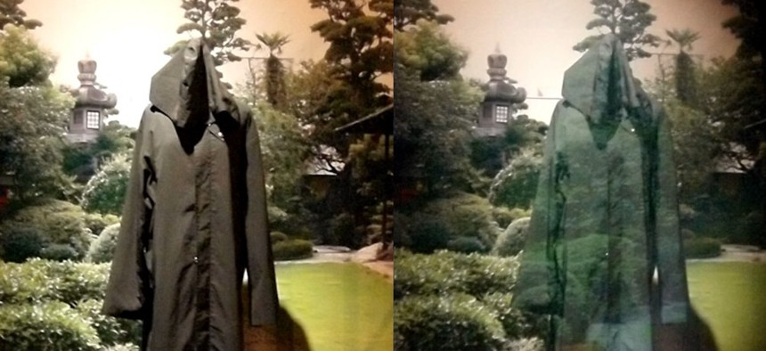 An invisibility cloak using optical camouflage by Susumu Tachi of the University of Tokyo on display at the National Museum of Emerging Science and Innovation (Miraikan) in Tokyo