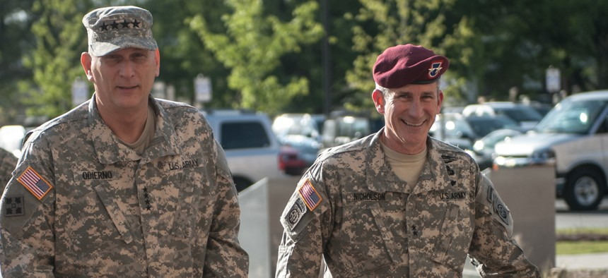 John W. Nicholson Jr., right, then the major general in command of the 82nd Airborne Division, walks with Army Chief of Staff, Gen. Ray Odierno at Fort Bragg, N.C., in this 2014 photo.