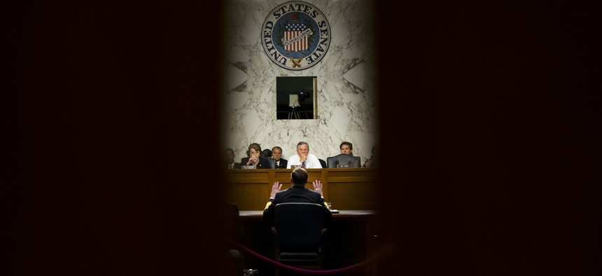 Director of the National Security Agency (NSA) Adm. Michael Rogers testifies on Capitol Hill in Washington, Thursday, Sept. 24, 2015.