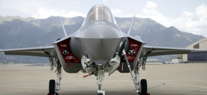 An F-35 jet sits on the tarmac at its new operational base Wednesday, Sept. 2, 2015, at Hill Air Force Base, in northern Utah. Two F-35 jets touched down Wednesday afternoon at the base, about 20 miles north of Salt Lake City.