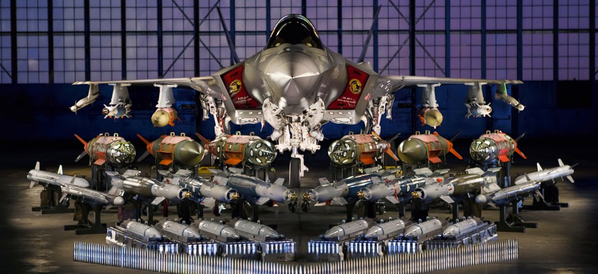 A U.S. Air Force F-35 Joint Strike Fighter with the weapons it will carry.