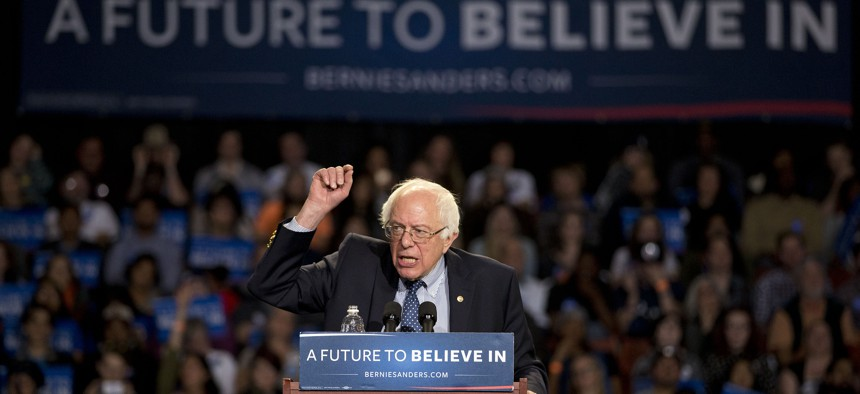 Democratic presidential candidate Sen. Bernie Sanders, I-Vt., speaks during a rally Sunday, Feb. 21, 2016, in Greenville, S.C.