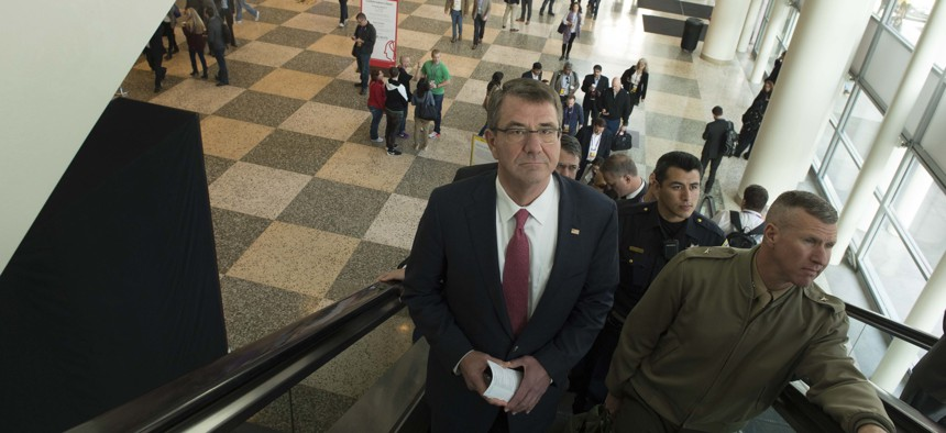 Secretary of Defense Ash Carter arrives at the 2016 RSA Conference in San Francisco, March 2, 2016.