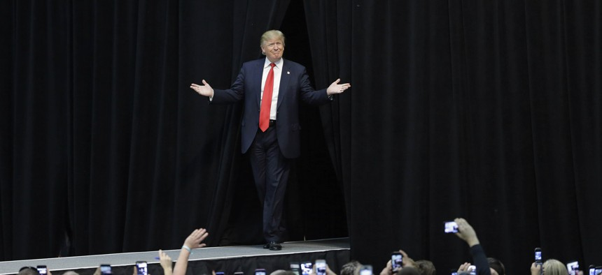 Republican presidential candidate Donald Trump is introduced during a campaign rally in Concord, N.C., Monday, March 7, 2016.