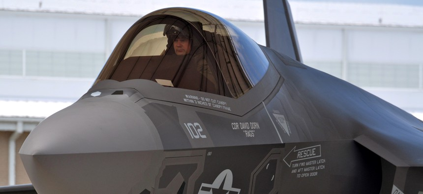 Navy Lt. Cmdr. Christopher Tabert lands his F-35C Lightning II in 2013 at Eglin Air Force Base, Fla.