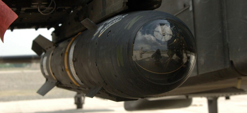 A Hellfire Missile mounted on an AH-64D Longbow Apache at Forward Operating Base Salerno, in the Khowst Province, Afghanistan, April 19, 2007.