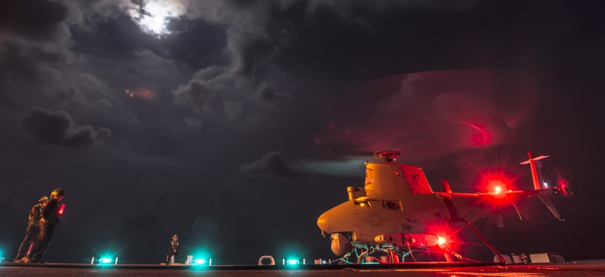 An MQ-8B Fire Scout unmanned aircraft system from Helicopter Maritime Strike Squadron (HSM) 35 performs ground turns aboard the littoral combat ship USS Fort Worth (LCS 3) in the South China Sea, May 1, 2015.