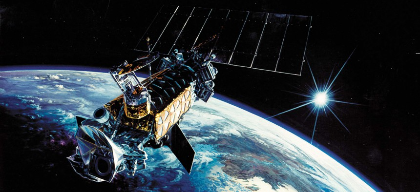 Today's satellites are all but unchangable once they're in orbit. Here, the Defense Meteorological Satellite Program.