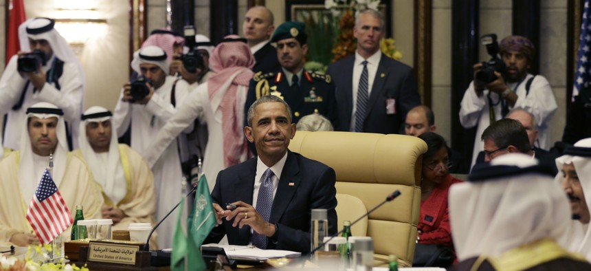 President Barack Obama is seated for the first Gulf Cooperation Council session during the Gulf Cooperation Council Summit in Riyadh, Saudi Arabia, Thursday, April 21, 2016.