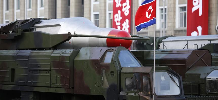 Medium-range Nodong ballistic missiles are paraded in Pyongyang, North Korea, on Oct. 10, 2015