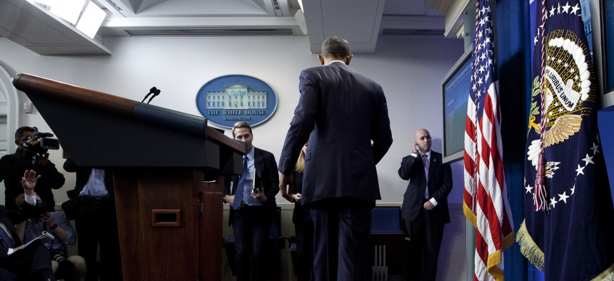 President Barack Obama leaves the podium in the briefing room of White House in Washington, Friday, May 6, 2016.