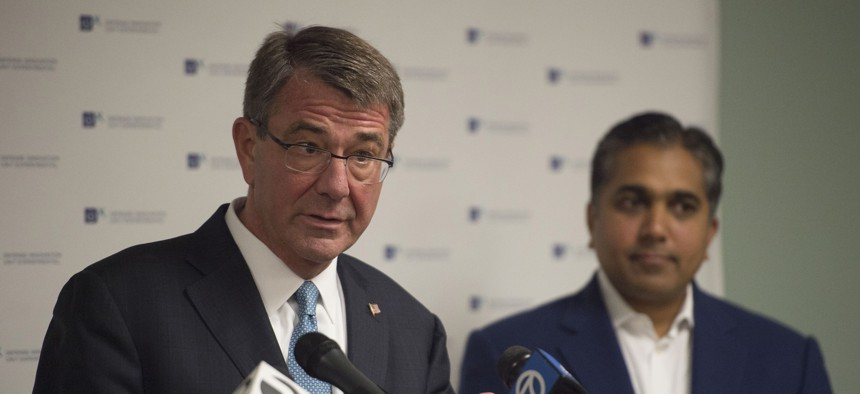 Secretary of Defense Ash Carter speaks with reporters after delivering remarks at Defense Innovation Unit Experimental at Moffett Field, Calif., to deliver remarks at DIUx May 11, 2016.
