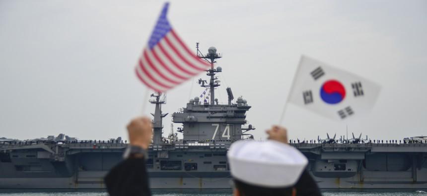 The aircraft carrier USS John C. Stennis (CVN 74) arrives at Commander, Republic of Korea Fleet base in Busan, the new home for the U.S. Navy in Korea.