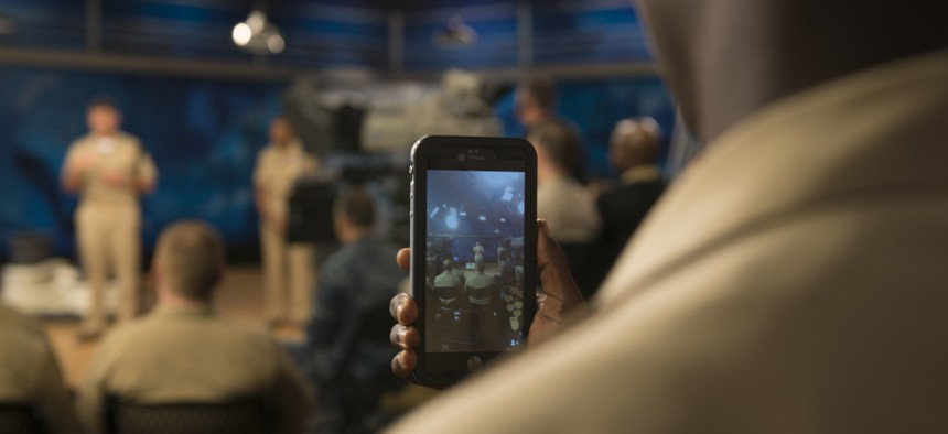 """A U.S. sailor at an """"all hands call"""" at Defense Media Activity at Fort George G. Meade, Md., Oct, 6, 2015."""