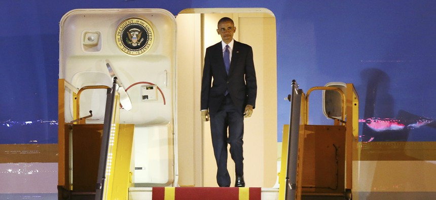 President Barack Obama steps off Air Force One as he arrives in Hanoi, Vietnam, Sunday, May 22, 2016.