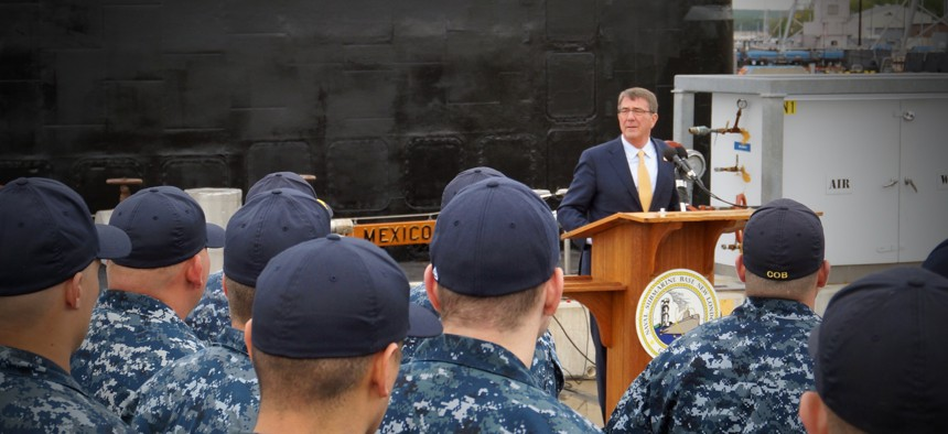 Defense Secretary Ash Carter speaks to sailors at Sub Base New London, Connecticut, on May 24, 2016.