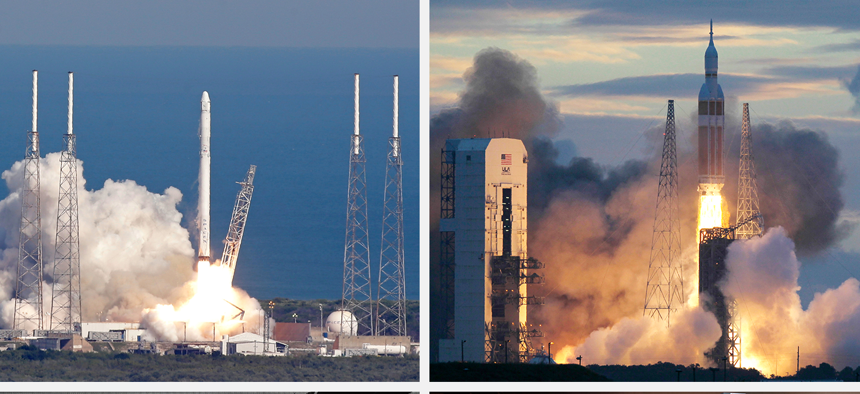 Clockwise from top left, SpaceX Falcon 9 rocket; a Delta IV rocket; scale model of Aerojet Rocketdyne's AR1 engine; and the Blue Origin rocket from Jeff Bezos.
