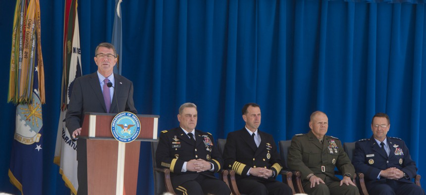 Secretary of Defense Ash Carter announces new 'Force of the Future' initiatives in the pentagon courtyard, June 9, 2016.