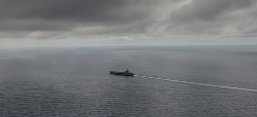 The Navy's only forward-deployed aircraft carrier USS Ronald Reagan (CVN 76) transits the South China Sea, July 5, 2016.