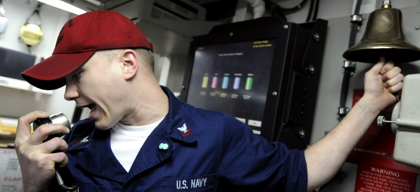A U.S. sailor stands a watch in damage control central during a fire drill aboard USS Blue Ridge (LCC 19) March 11, 2010.