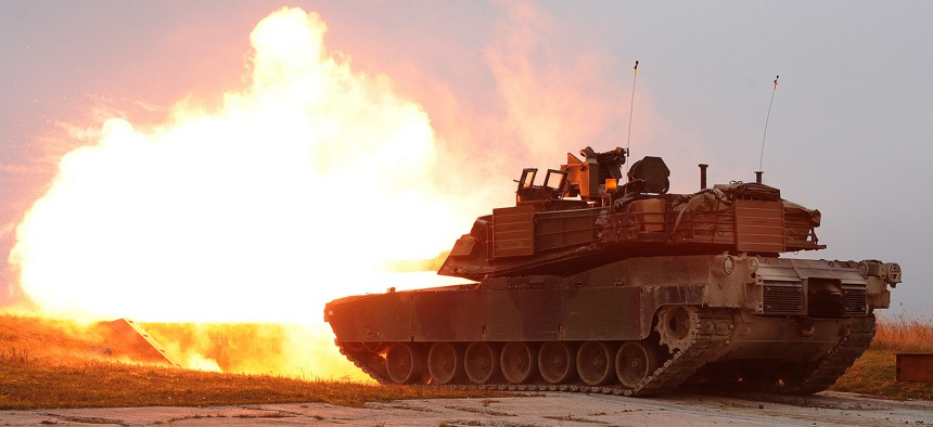 U.S. Army M1A2 Abrams tanks during a military exercise in Europe in 2015.