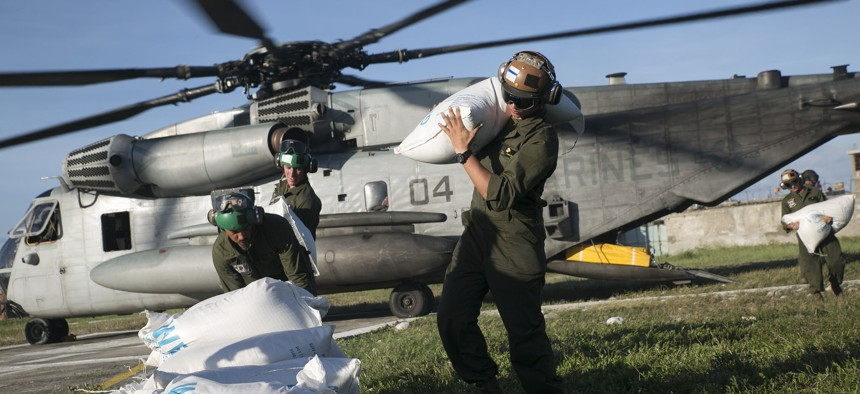 Joint Task Force Matthew delivered over 10,000 pounds of supplies on their first day of relief operations.