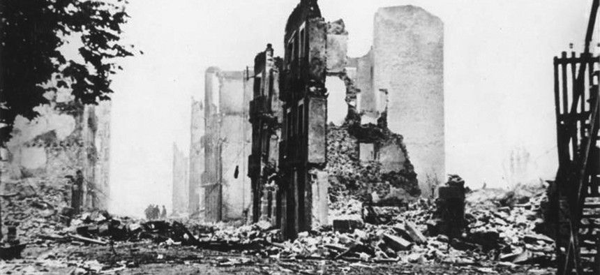 The ruins of Guernica, bombed by Nazi Germany in 1937, during the Spanish Civil War.