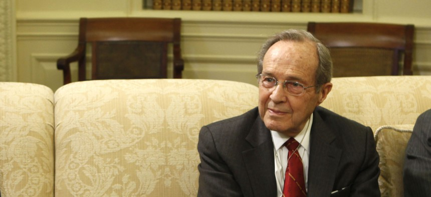 Former Defense Secretary William Perry in the Oval Office for a 2009 meeting with President Barack Obama.